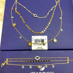 Swarovski golden crystal necklace & bracelet set